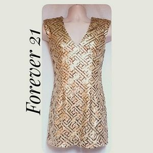Forever 21 Gold Sequin Party Dress Size Med