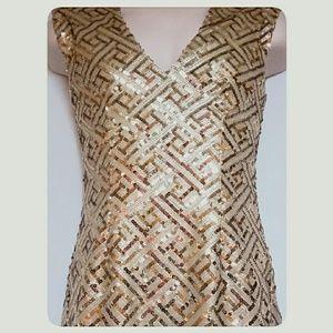 Forever 21 Dresses - Forever 21 Gold Sequin Party Dress Size Med