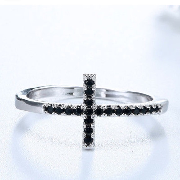 black gemstone cross silver promise ring from s