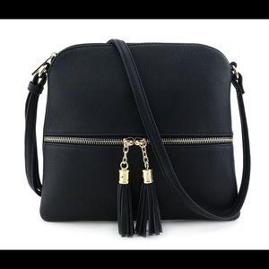 Lightweight Crossbody Handbag with Tassels