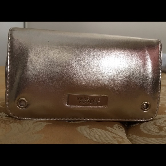 Versace Versace Gold Zippered Make Up Bag New From Sandy