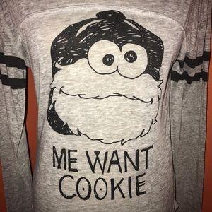 Sesame Street Tops - SESAME STREET~Cookie Monster~Me Want Cookie Tee~S