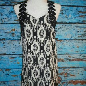 Sage Tops - Sage Black and White Sleeveless Dress Shirt