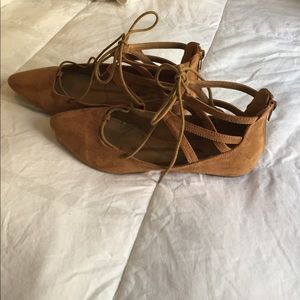 new directions Shoes - Strappy, lace up tan suede flats