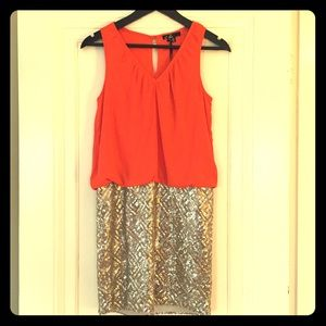 C. Luce Dresses & Skirts - NWT Orange and Gold Sequin Dress by C. Luce
