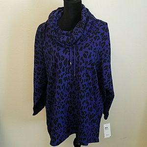 Style & Co sport purple leopard print top