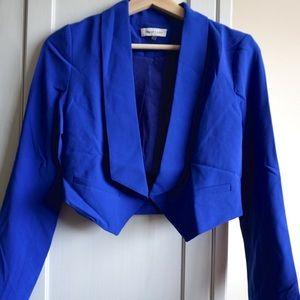 Sugarlips Jackets & Blazers - Bright Blue Cropped Blazer