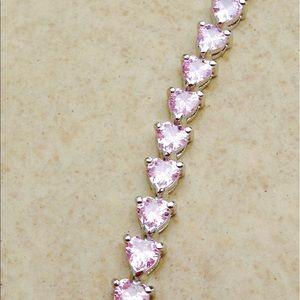 Rhodium Plated Pink CZ Heart Tennis Bracelet