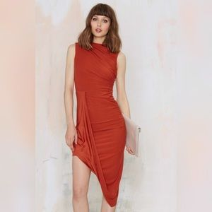 Rust Asymmetrical Drape Dress