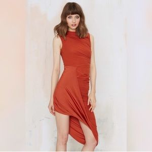 Rust Asymmetrical Ruched Dress
