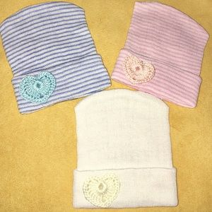 Other - .Newborn Girl Hospital Beanie with HEART!!. NEW
