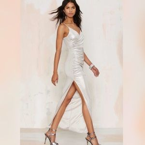 High Cut Metallic Maxi Dress
