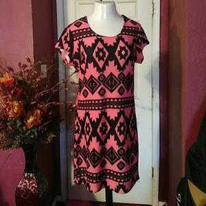 No Boundaries Dresses & Skirts - 💎SALE💎 Coral Aztec Print Stretchy Knit Dress
