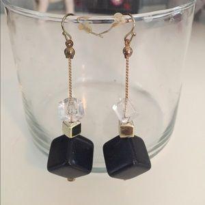 Cube Drop Earrings Gold