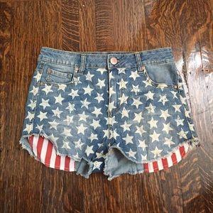 Tobi Pants - 4th of July American Flag Jean Shorts