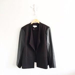Calvin Klein Jackets & Blazers - Calvin Klein Black Faux Leather Detail Open Blazer