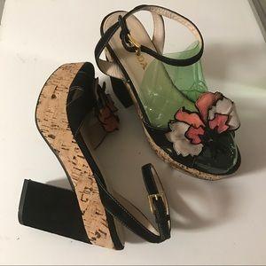 Auth Prada Platform Heeled Sandals Suede Shoes