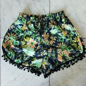 New Tropical High Waisted Pom Pom Shorts