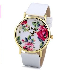 geneva Accessories - Floral Gold Plated Analog Geneva Watch