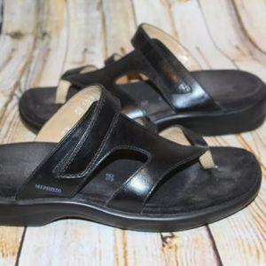 Mephisto Shoes - MEPHISTO Women Black Leather T-Strap Sandal 38 8
