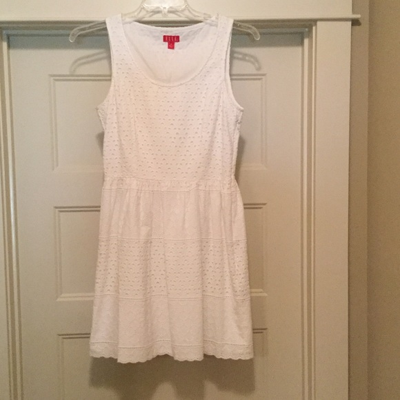 Elle Dresses & Skirts - White Eyelet Dress by ELLE size 8