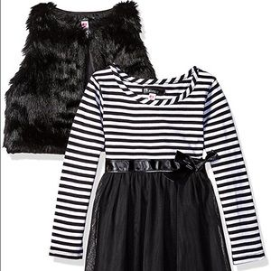 Kensie Other - SALE Striped Tulle Dress with Faux Fur Vest