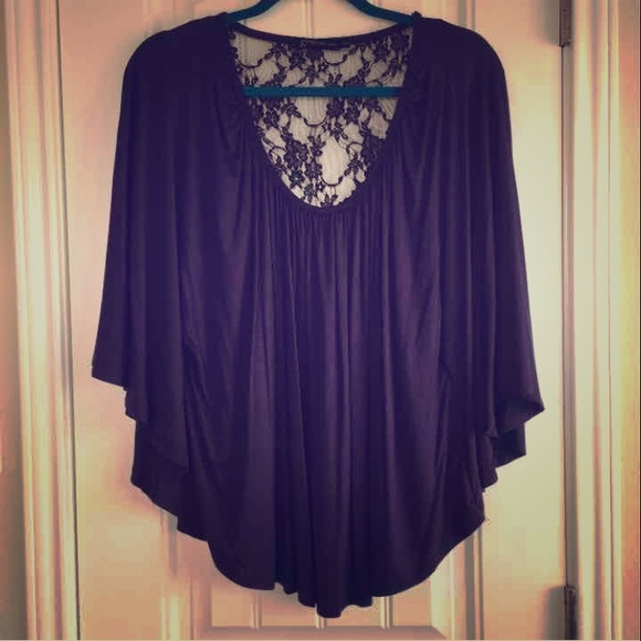Boutique poncho styled top with black lace l from tres for Boutique tops
