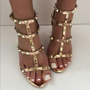 Shoes - 1 left!! Rose Gold Studded Heel
