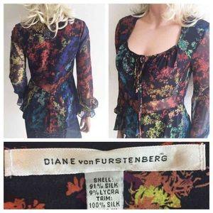 Diane von Furstenberg Tops - Diane Von Furstenberg Peplum Silk Top