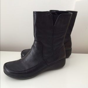 Shoes - JET BLACK LEATHER BOOTS-WORN 4 TIMES-PERFECTION