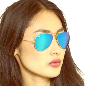 Ray-Ban Accessories - New Rayban 3025 light blue and gold aviator