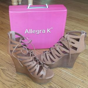 Allegra K Shoes - Allegra K lace up wedges