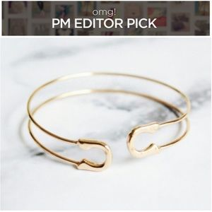 Jewelry | Gold delicate safety pin bracelet cuff