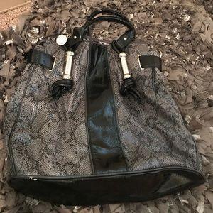 Rampage Handbags - Black patent leather snake print purse