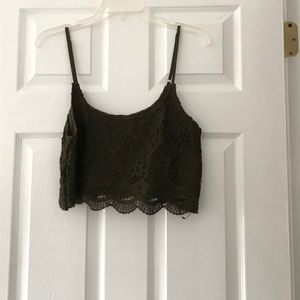 NWT olive green crop top