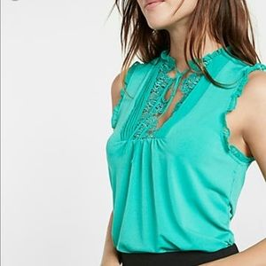 Express Tops - Express Lace Bib Front Tie-Neck Tank Top
