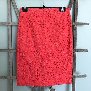 J. Crew NWOT Coral Lace Pencil Skirt Size 00