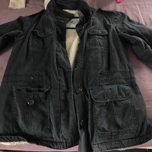 Navy blue button up coat