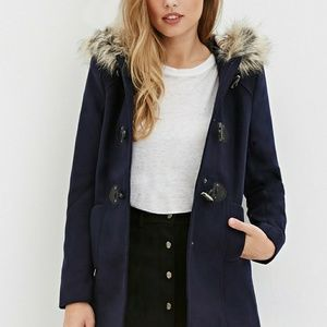 Navy Hooded Toggle-Front Coat