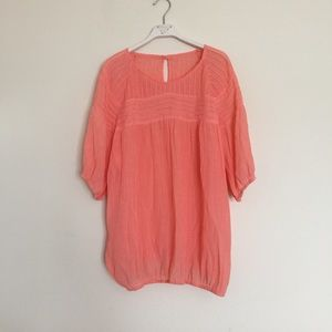 Anthropologie Tops - Coral pink pleated loose spring blouse small