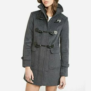 Charcoal Funnel Neck Toggle Coat