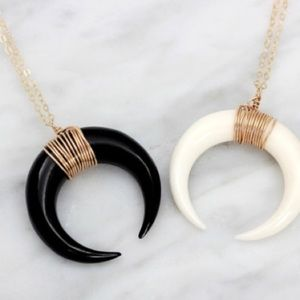 Spell & The Gypsy Collective Jewelry - 🌙 Black Crescent Half Moon Horn Pendant Necklace