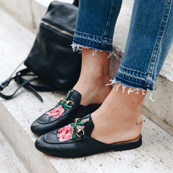 a040f203f328 Embroidered Loafer Mules