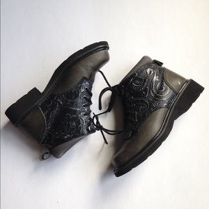 Roper Shoes - Roper embossed floral leather hiking boots