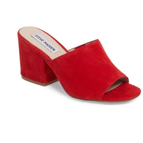 b37d8590f5c3 Steve Madden Dalis Slide Sandal red mules. M 591a1f8bc284569a6d13736a