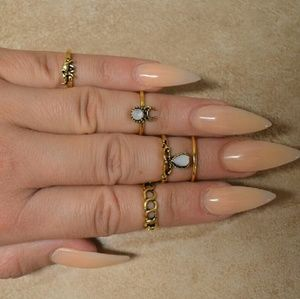 Jewelry - Brand New Set of 5 Bohemian Hippie Gold Rings