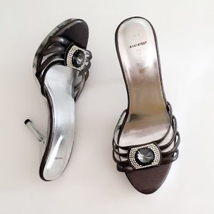 #A78 Charcoal Gray and Silver Mirrored Heels