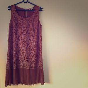 Dresses & Skirts - Chiffon and lace tan dress, size 6