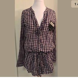 Desigual Tops - Desigual button down tunic drawstring waist