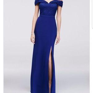 Jersey Off The Shoulder Royal Blue Dress Size 16